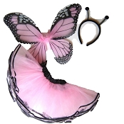 Butterfly Wing Skirt 3pc Set Light Pink Black